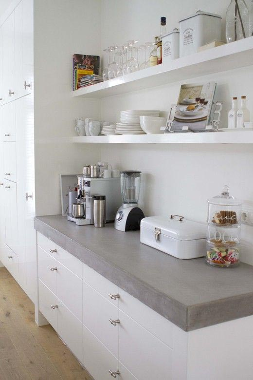Werkblad Keuken Betonlook : Concrete Kitchen Countertops White Cabinets