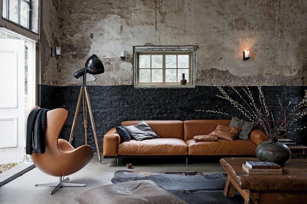 Gordijnen Slaapkamer Vtwonen : Living Room with Cognac Sofa